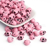 Opaque Acrylic Beads, For Halloween, Skull, Pink, 12.5x9.5x11mm, Hole: 1.5mm