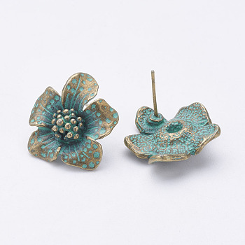 Tibetan Style Alloy Stud Earrings, Flower, Antique Bronze & Green Patina, 20x19x5.5mm; Pin: 0.7mm