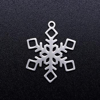 201 подвески из нержавеющей стали, снежинка, Рождество, цвет нержавеющей стали, 17x13x1 мм, отверстие : 1.5 мм