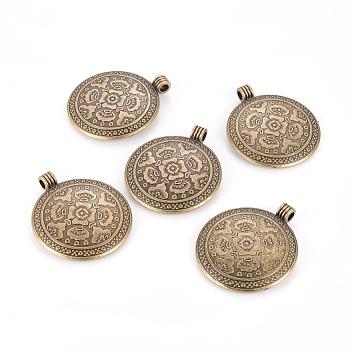 Стиль тибетского плоские круглые с цветком сплава больших подвесками, без свинца, без никеля и без кадмия, античная бронза, 54x46.5x2.5 мм, отверстие : 5 мм