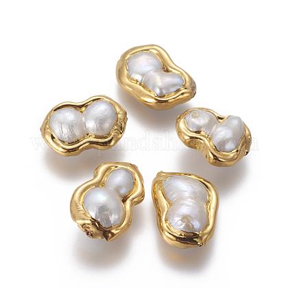 Perlas naturales abalorios de agua dulce cultivadasPEAR-F011-14G-1