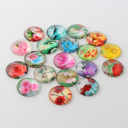 Flower Printed Glass Cabochons GGLA-A002-20mm-BB-1