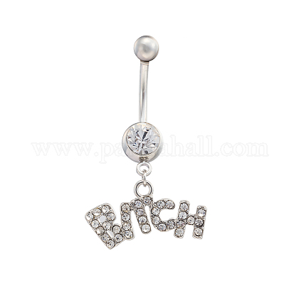 Platinum Plated Piercing Jewelry Brass Cubic Zirconia Navel Ring Belly Rings AJEW-EE0001-07-1