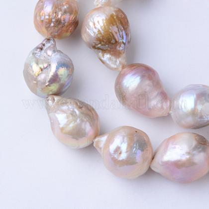 Hebras de perlas keshi de perlas barrocas naturalesPEAR-S010-34-1