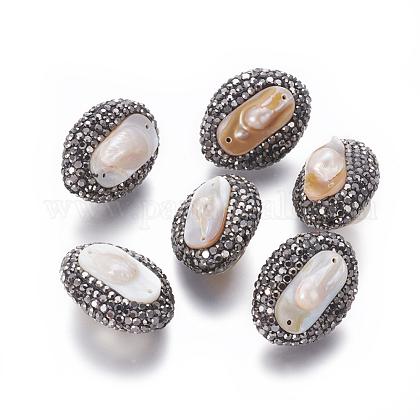 Perlas naturales abalorios de agua dulce cultivadasPEAR-F015-52-1