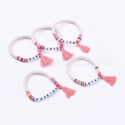 Handmade Polymer Clay Heishi Beads Stretch BraceletsBJEW-JB05086-1