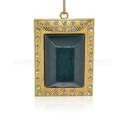 Oro tono de aleación de resina rectángulo colgantes grandesPALLOY-J103-08G-1