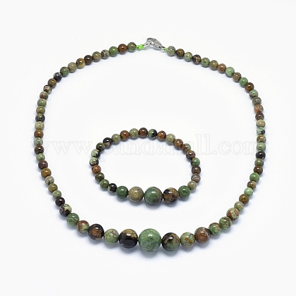Natural Green Opal Graduated Beads Necklaces and Bracelets Jewelry SetsSJEW-L132-04-1