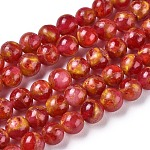 Synthetic Gold Clinquant Stone Beads Strands, Dyed, Round, Red, 6mm, Hole: 1.2mm; about 64~65pcs/strand, 15.15