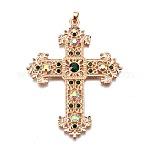 Alloy Rhinestone Big Pendants, Religion, Lead Free & Cadmium Free, Cross, Light Gold, Emerald, 87x67x6mm, Hole: 4.5x6mm