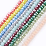 Electroplate Glass Beads Strands, Imitation Jade, AB Color Plated, Faceted, Rondelle, Mixed Color, 3.5~4x2.5~3mm; Hole: 0.5mm; about 140pcs/strand, 15.5