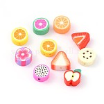 Mixed Fruit Theme Handmade Polymer Clay Beads, Mixed Color, 9~13x9~11x4~5mm, Hole: 1~2mm