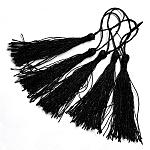 Decoraciones de borla de poliéster, decoraciones colgantes, negro, 130x6mm; Borla: 80mm