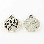 Dog Paw Prints Tibetan Style Alloy Pendant Enamel Settings, Lead Free & Cadmium Free, Antique Silver, 18x15x1.5mm, Hole: 2mm; about 680pcs/1000g