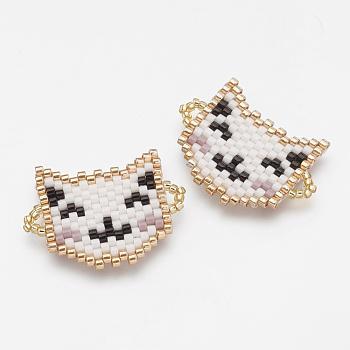 Enlaces de cuentas de semillas japonesas hechas a mano de miyuki & toho, patrón de telar, gato, blanco, 19.5x26x2mm, agujero: 1~2 mm