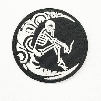Компьютеризированная вышивка тканью утюжок на / шить на заплатках, аксессуары для костюма, аппликация, плоский круг с луной и человеческим скелетом, черные и белые, 70 мм