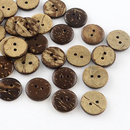 2 botones de coco redondas planas hoyos deBUTT-R035-004-1