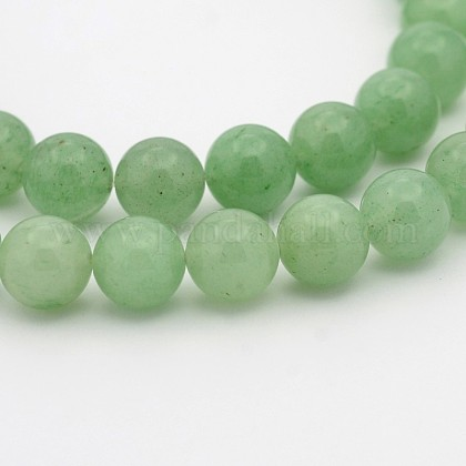 Natural Green Aventurine Round Bead StrandsG-P070-37-4mm-1