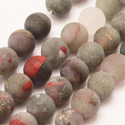 Naturales africanos abalorios bloodstone hebras G-P295-05-6mm-1