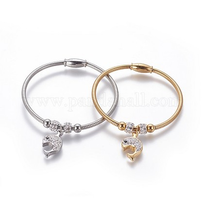 304 Stainless Steel Charms BanglesBJEW-P258-04-1