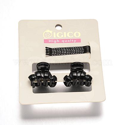 Gunmetal plateado pelo hierro horquillas y accesorios de plástico de la garra del pelo pinzas para el cabello conjuntosOHAR-M020-03-1