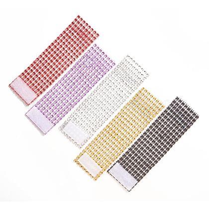Anneaux de serviette en plastique strass 8 rangéesAJEW-YX0001-01-1