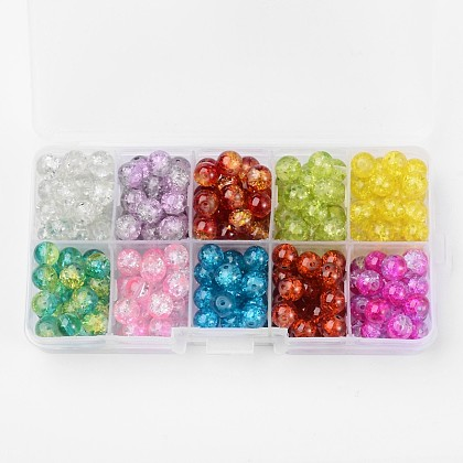 Spray Painted Transparent Crackle Glass Beads StrandsCCG-X0005-4mm-B-1