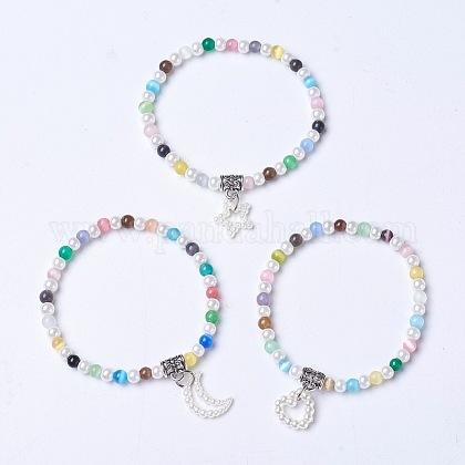Pulsera de ojo de gato y perlas de vidrio para niños.BJEW-JB04204-M-1