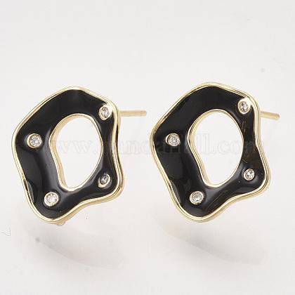 Латунные серьги-гвоздики из цирконияX-KK-T054-35G-01-NF-1