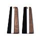 樹脂&ウォールナットウッドペンダント  台形  ブラック  49x19x3mm  穴:2mmRESI-S389-073A-A01-2