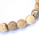 Frosted Natural Picture Jasper Round Bead Strands G-E334-12mm-26-2