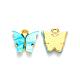 合金ペンダント, 樹脂とグリッターパウダー付き, 蝶, ゴールドカラー, シアン, 13x13~15x3.5mm, 穴:2mm