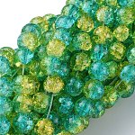 Spray Painted Crackle Glass Beads Strands, Round, Two Tone, MediumTurquoise, 8mm, Hole: 1.3~1.6mm; about 100pcs/strand, 31.4