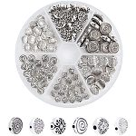 PandaHall Elite 120pcs 6 Styles Antique Silver Tibetan Alloy Flat Round Spacer Beads Metal Spacers for Bracelet Necklace Jewelry Making(Star, Spiral, Flower, Flower, Rhombus)