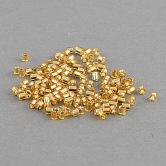 Perles de rocaille en verre taillé transparent fgb®, Grade a, Argenté, teinte, verge d'or, 2x1.5~2mm, trou: 0.5 mm; environ 21000 PCs / sachet