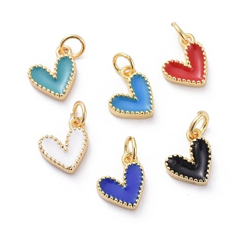 Enamel Charms, with Brass Findings, Heart, Golden, Mixed Color, 9x7x2.5mm, Hole: 2.5mm