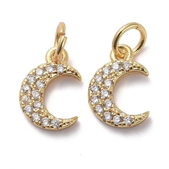 Ciondoli in ottone zirconi chiari micro pavé, con anelli di salto, luna, oro, 11x7.5x2mm, Foro: 3 mm