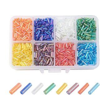 Conjunto de perlas de corneta de vidrio, color mezclado, 6x1.8mm, agujero: 0.6 mm, aproximamente 103 g / caja