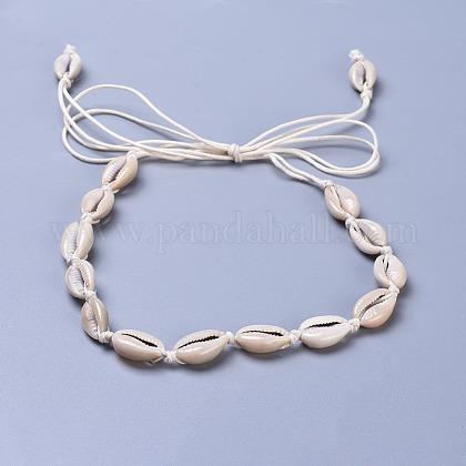 Adjustable Cowrie Shell Beads Lariat NecklacesX-NJEW-JN02394-1