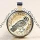 Owl Pattern Flat Round Glass Pendant NecklacesNJEW-N0051-055D-02-1