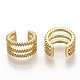 Brass Micro Pave Clear Cubic Zirconia Cuff Earrings EJEW-S208-002-1