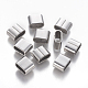 304 Stainless Steel Slide Charms/Slider Beads, For Leather Cord Bracelets Making, Rectangle, Stainless Steel Color, 9.5x12x6mm, Hole: 4x10mm