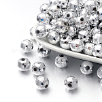 Faceted Round Plated Acrylic Beads, Silver Plated, 10mm, Hole: 1.5mm; about 800pcs/pound