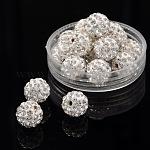 Pave bolas de discoteca, Abalorios de Diamante de imitación de arcilla polímero, redondo, cristal, pp13 (1.9~2 mm), 6 hilera de diamantes de imitación; 10mm, agujero: 1.5 mm