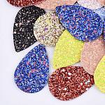 Gros pendentifs en cuir pu, avec paillettes paillettes / paillette, larme, couleur mixte, 57.5x37x2.5mm, Trou: 1.8mm