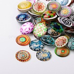 Mosaic Printed Glass Half Round/Dome Cabochons, Mixed Color, 20x6mm