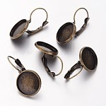Antique Bronze Brass Bezel Leverback Earring Findings for Cabochons, Lead Free and Cadmium Free and Nickel Free, 25~27x16mm; Tray: 14mm