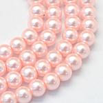 Chapelets de perle en verre peint de cuisson, nacré, ronde, rose, 5~6mm, trou: 1mm; environ 186 pcs/chapelet, 31.4