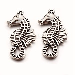 Tibetan Style Alloy Pendants, Sea Horse, Antique Silver, Lead Free and Cadmium Free and Nickel Free, 38x18x3mm, Hole: 2mm