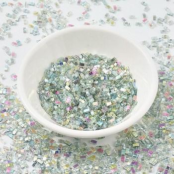 Cuentas de media tila miyuki, Abalorios de la semilla japonés, 2 agujero, (htl4577) arcoiris verde cristalino, 5x2.3x1.9mm, agujero: 0.8 mm, aproximamente 250 unidades / 10 g